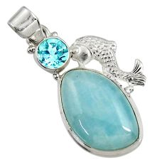 Clearance Sale- 20.86cts natural blue aquamarine topaz 925 sterling silver fish pendant d37751