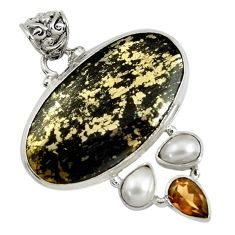Clearance Sale- 27.70cts natural pyrite in magnetite (healer's gold) 925 silver pendant d37752