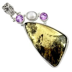 Clearance Sale- 30.97cts natural pyrite in magnetite (healer's gold) 925 silver pendant d37753