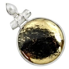 31.56cts natural pyrite in magnetite (healer's gold) 925 silver pendant d37754