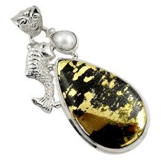 26.16cts natural pyrite in magnetite (healer's gold) silver fish pendant d37755