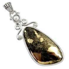 Clearance Sale- 925 silver 28.30cts natural pyrite in magnetite (healer's gold) pendant d37756