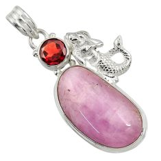Clearance Sale- 28.86cts natural pink kunzite garnet 925 silver fairy mermaid pendant d37757