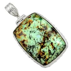 26.16cts natural green norwegian turquoise 925 sterling silver pendant d37760
