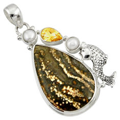 Clearance Sale- 28.84cts natural ocean sea jasper (madagascar) 925 silver fish pendant d37762