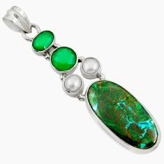 Clearance Sale- 925 silver 20.07cts natural green opaline chalcedony pearl pendant d37777