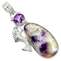 Clearance Sale- 925 sterling silver 17.57cts natural purple opal amethyst fish pendant d37784