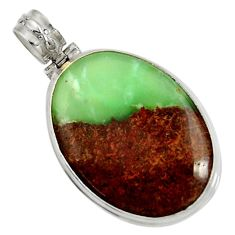 Clearance Sale- 29.40cts natural green boulder chrysoprase 925 sterling silver pendant d37790