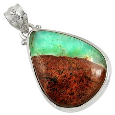 Clearance Sale- 925 sterling silver 21.48cts natural green boulder chrysoprase pendant d37796