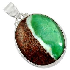 Clearance Sale- 27.08cts natural green boulder chrysoprase 925 sterling silver pendant d37798