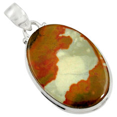 Clearance Sale- 23.95cts natural brown rocky butte picture jasper 925 silver pendant d37805