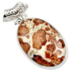34.26cts natural brown garnet in limestone spessartine 925 silver pendant d37825