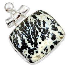 32.48cts natural black feather medicine bow agate 925 silver pendant d37839