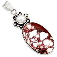 Clearance Sale- 925 silver 25.00cts natural white wild horse magnesite pearl pendant d37843