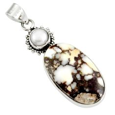 19.20cts natural white wild horse magnesite pearl 925 silver pendant d37844