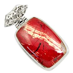 Clearance Sale- 27.70cts natural red snakeskin jasper 925 sterling silver pendant jewelry d37866