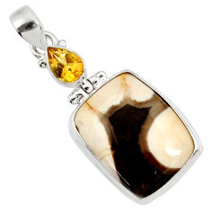 925 silver 20.65cts natural brown peanut petrified wood fossil pendant d37879