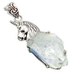 28.08cts natural blue dumortierite 925 sterling silver horse pendant d37881