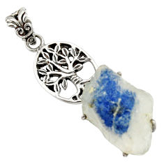 Clearance Sale- 925 silver 26.52cts natural blue dumortierite fancy tree of life pendant d37883