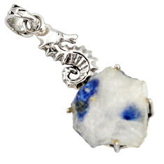 Clearance Sale- 28.30cts natural blue dumortierite 925 sterling silver seahorse pendant d37888