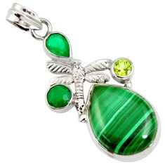Clearance Sale- 22.57cts natural malachite (pilot's stone) 925 silver dragonfly pendant d37893