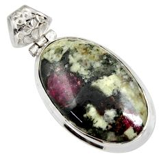24.38cts natural pink eudialyte oval 925 sterling silver pendant jewelry d37895