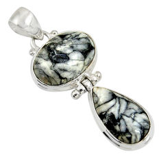 Clearance Sale- 16.18cts natural white pinolith 925 sterling silver pendant jewelry d38563