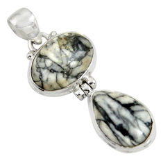 Clearance Sale- 925 sterling silver 15.65cts natural white pinolith pendant jewelry d38567
