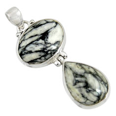 Clearance Sale- 22.02cts natural white pinolith 925 sterling silver pendant jewelry d38568