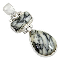 Clearance Sale- 16.18cts natural white pinolith 925 sterling silver pendant jewelry d38570