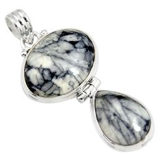 Clearance Sale- 925 sterling silver 21.48cts natural white pinolith pendant jewelry d38575
