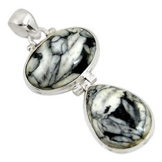 Clearance Sale- 19.72cts natural white pinolith 925 sterling silver pendant jewelry d38576