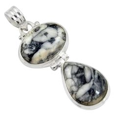 Clearance Sale- 17.57cts natural white pinolith 925 sterling silver pendant jewelry d38577