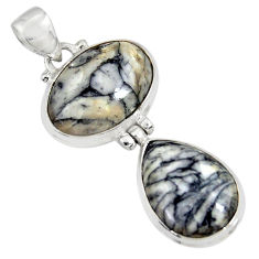 Clearance Sale- 925 sterling silver 19.23cts natural white pinolith pendant jewelry d38578