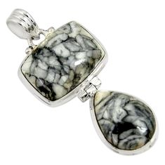 25.03cts natural white pinolith 925 sterling silver pendant jewelry d38580
