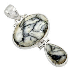 Clearance Sale- 15.65cts natural white pinolith 925 sterling silver pendant jewelry d38582