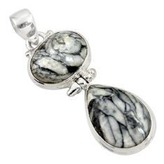 Clearance Sale- 17.57cts natural white pinolith 925 sterling silver pendant jewelry d38583