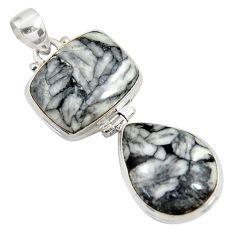 Clearance Sale- 26.70cts natural white pinolith 925 sterling silver pendant jewelry d38585