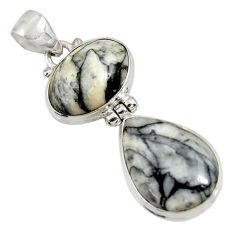 Clearance Sale- 19.68cts natural white pinolith 925 sterling silver pendant jewelry d38586