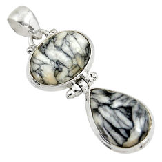 Clearance Sale- 18.15cts natural white pinolith 925 sterling silver pendant jewelry d38587
