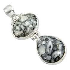 Clearance Sale- 925 sterling silver 19.68cts natural white pinolith pendant jewelry d38588