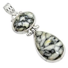 Clearance Sale- 19.72cts natural white pinolith 925 sterling silver pendant jewelry d38590
