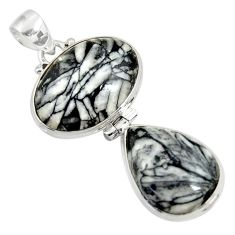 925 sterling silver 24.00cts natural white pinolith pendant jewelry d38591