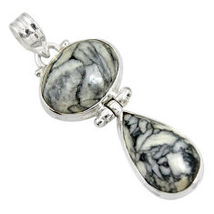 Clearance Sale- 18.68cts natural white pinolith 925 sterling silver pendant jewelry d38592