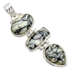 Clearance Sale- 19.72cts natural white pinolith 925 sterling silver pendant jewelry d38594