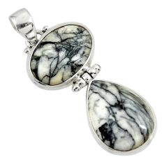Clearance Sale- 21.48cts natural white pinolith 925 sterling silver pendant jewelry d38596
