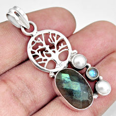 Clearance Sale- 10.84cts natural blue labradorite pearl 925 silver tree of life pendant d38618