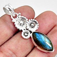 11.57cts natural blue labradorite 925 sterling silver flower pendant d38628