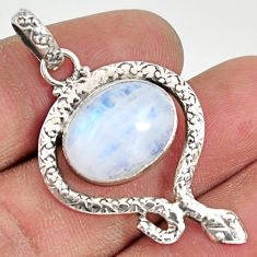 Clearance Sale- 9.63cts natural rainbow moonstone 925 sterling silver snake pendant d38660