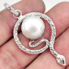 Clearance Sale- 10.00cts natural white pearl 925 sterling silver snake pendant jewelry d38671